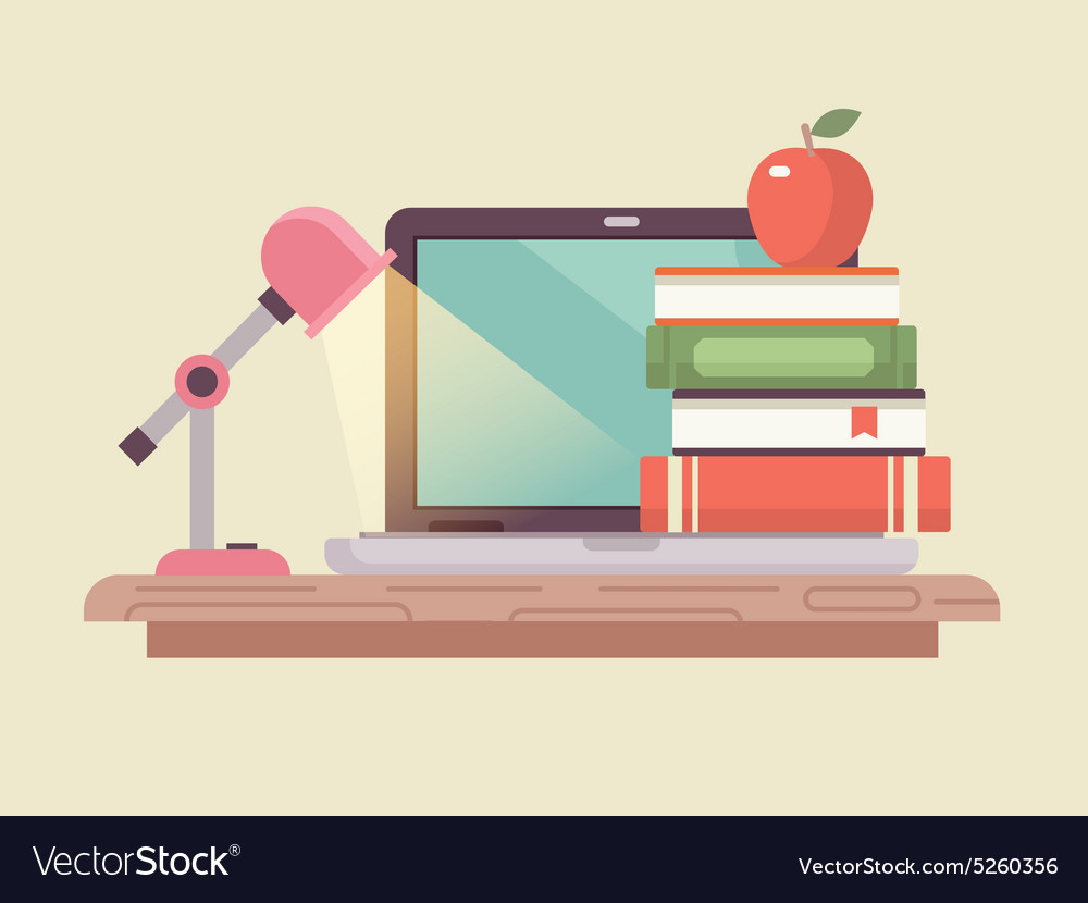 Workspace laptop and book stack flat style vector image