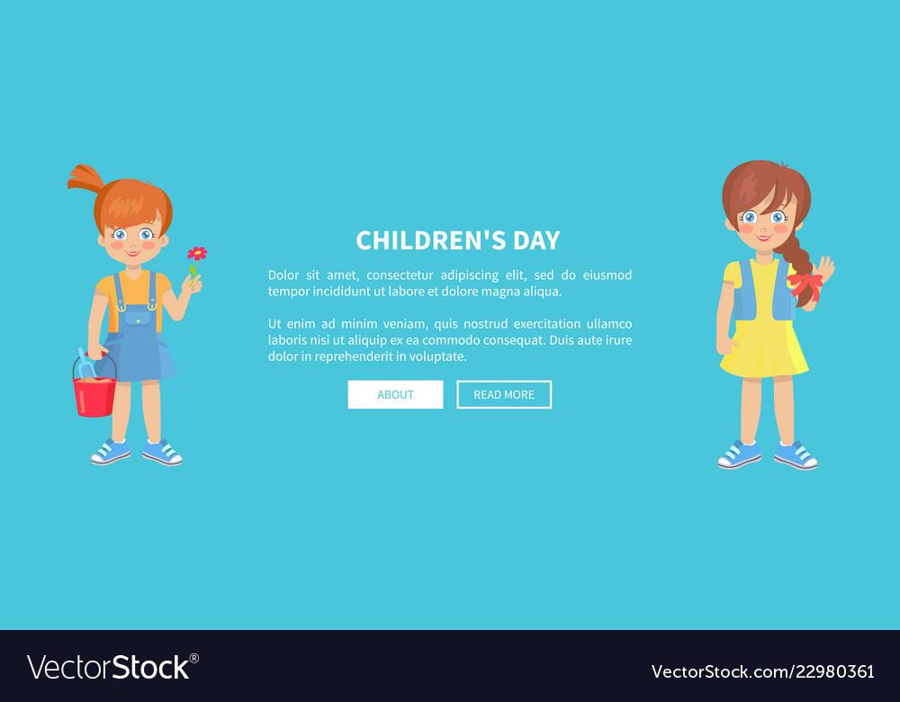 Children day web banner with playful kids girls
