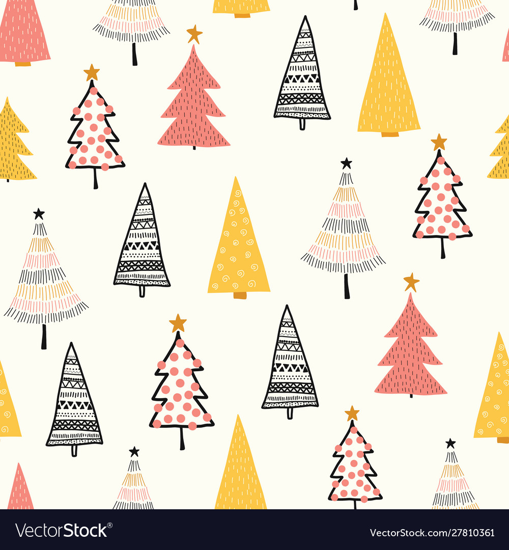 Christmas doodle trees background seamless