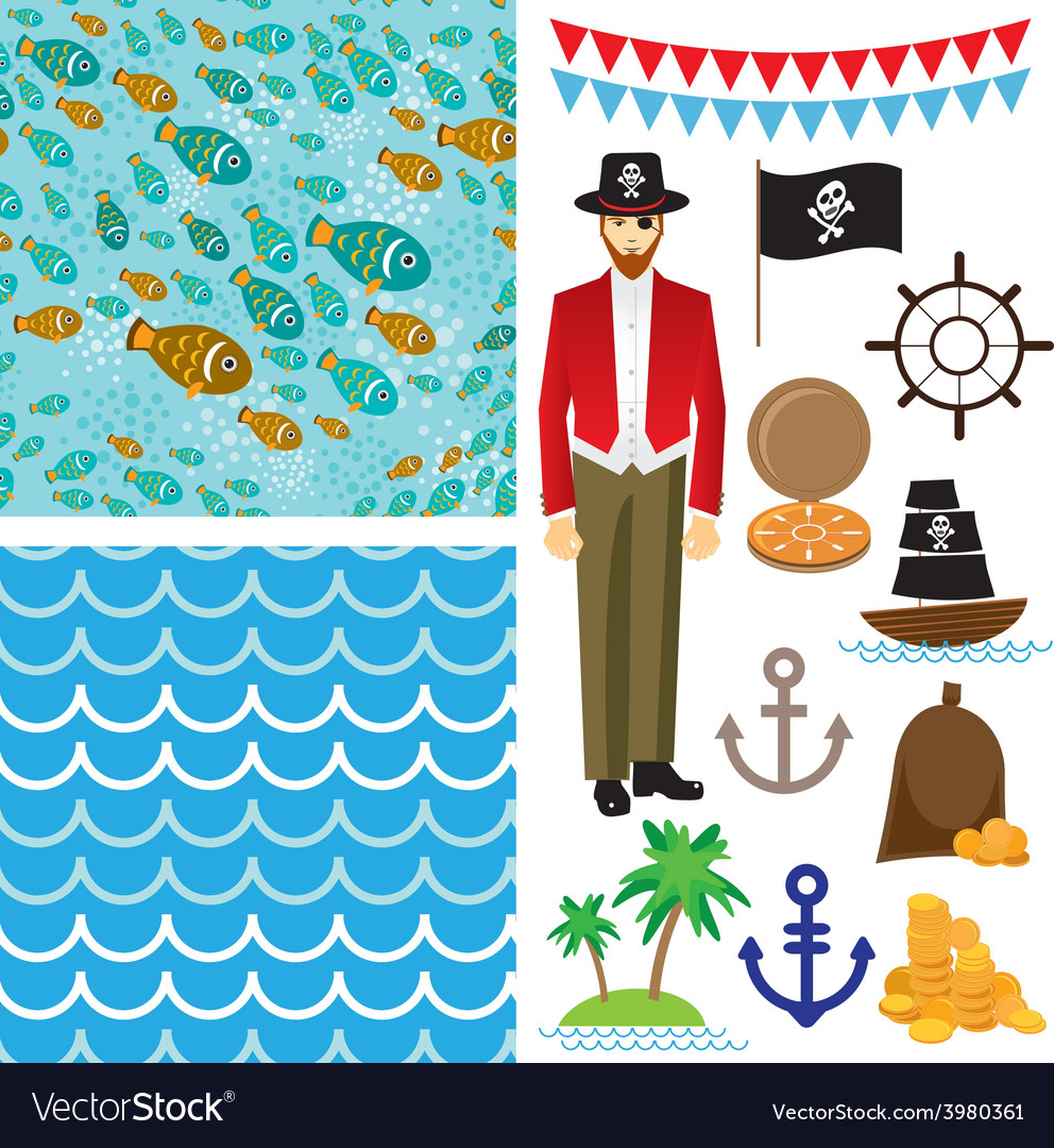 Cute pirate objects collection seamless background vector image