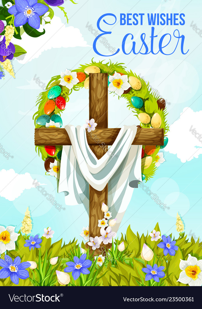 Easter cross greeting banner with egg and flower