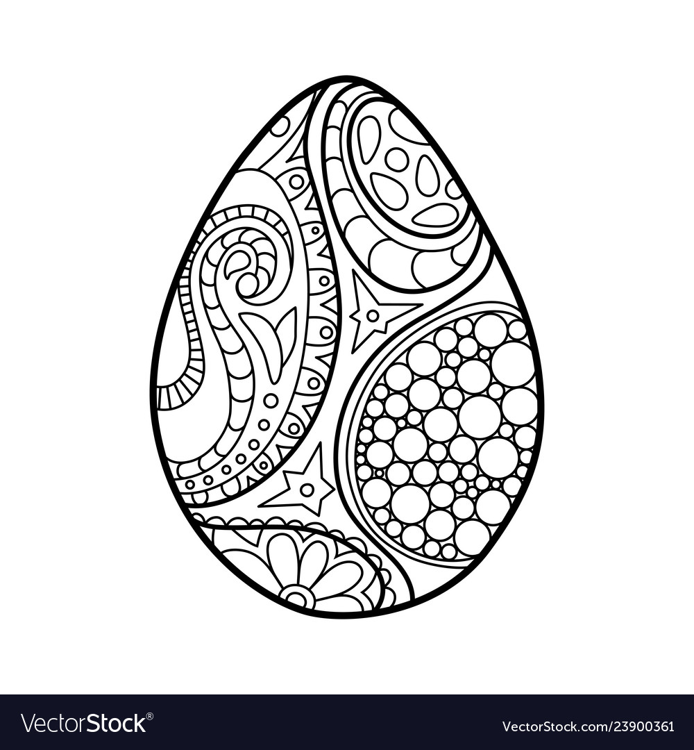 Easter egg coloring page on white background