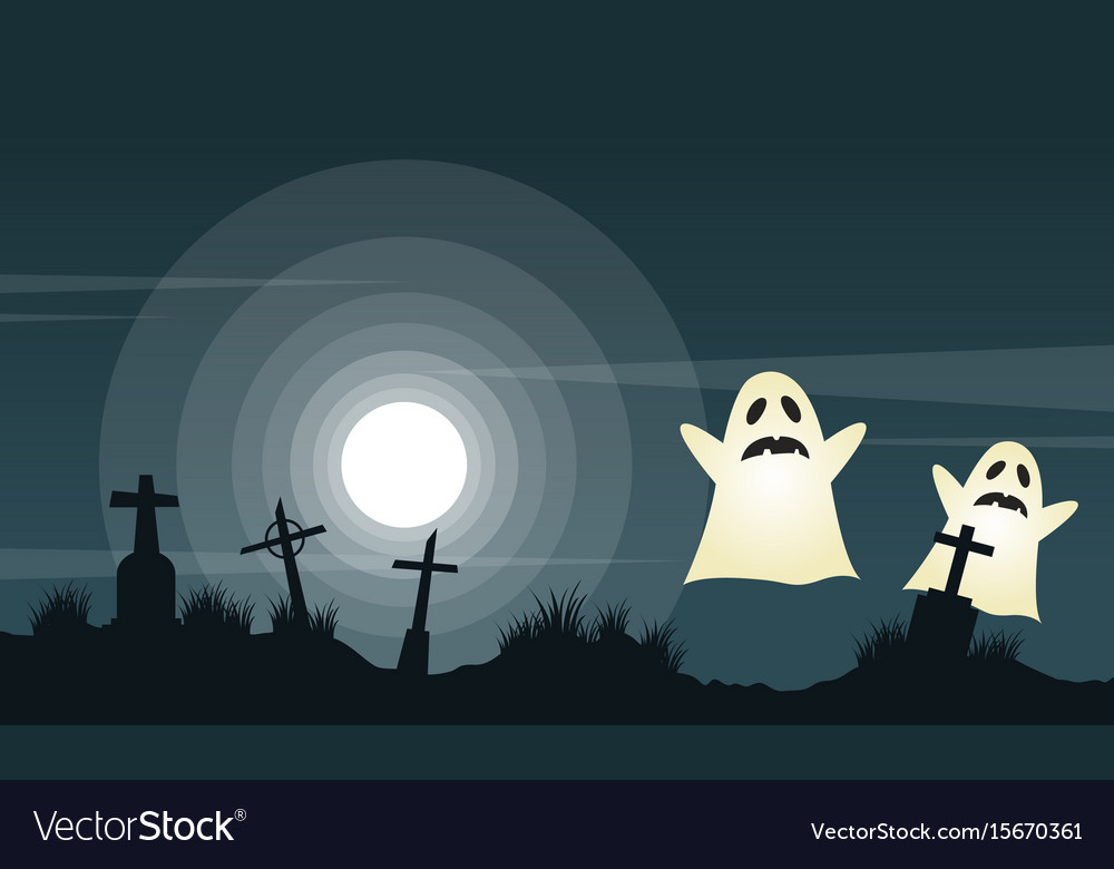 Halloween background with graveyard landscape