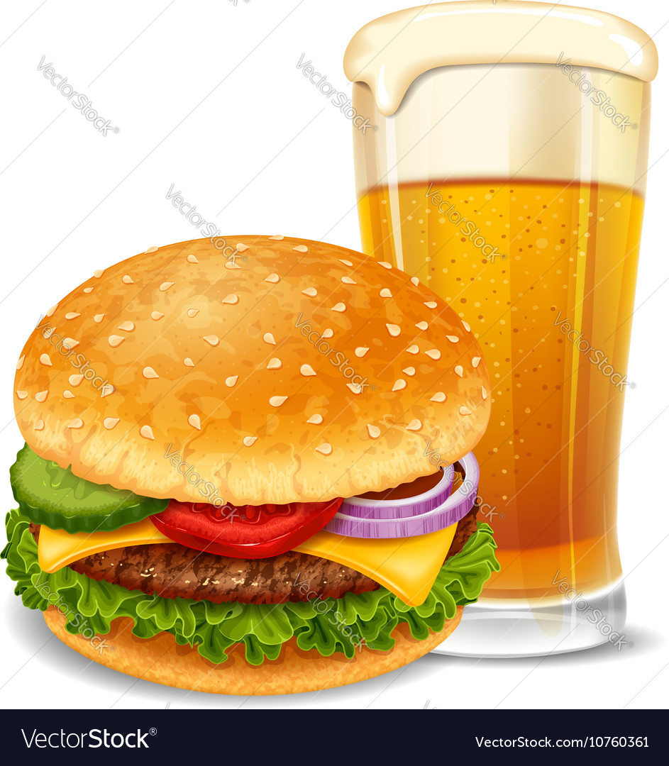 Hamburger and beer