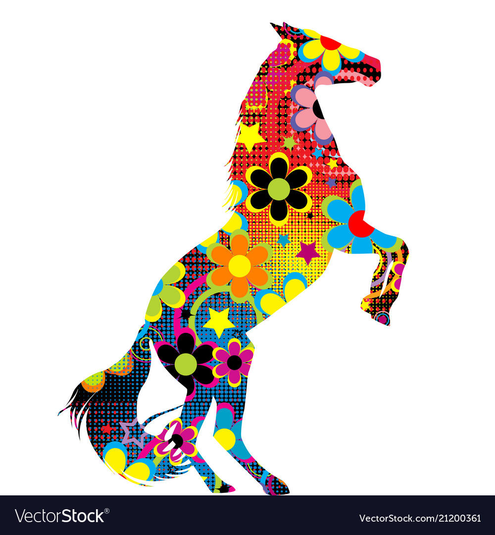 Horse on its hind legs with a colored floral