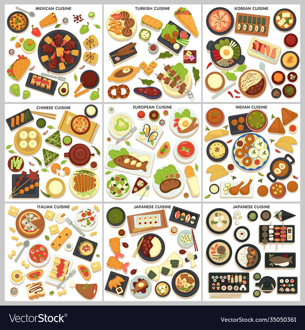 International cuisine menu food and cooking dishes