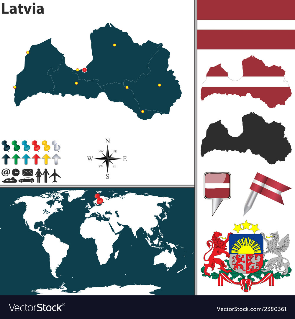 Latvia map vector image