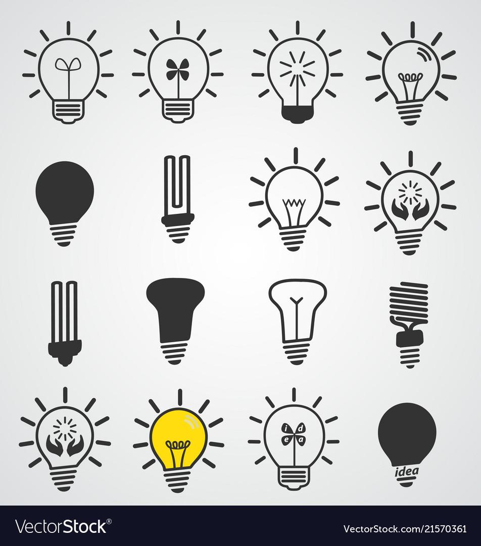 Light bulb icon art set of business concepts idea