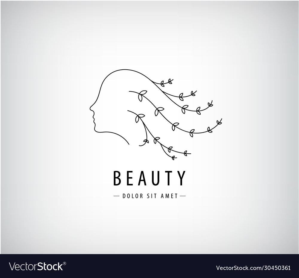 Linear beauty logo woman face with hair