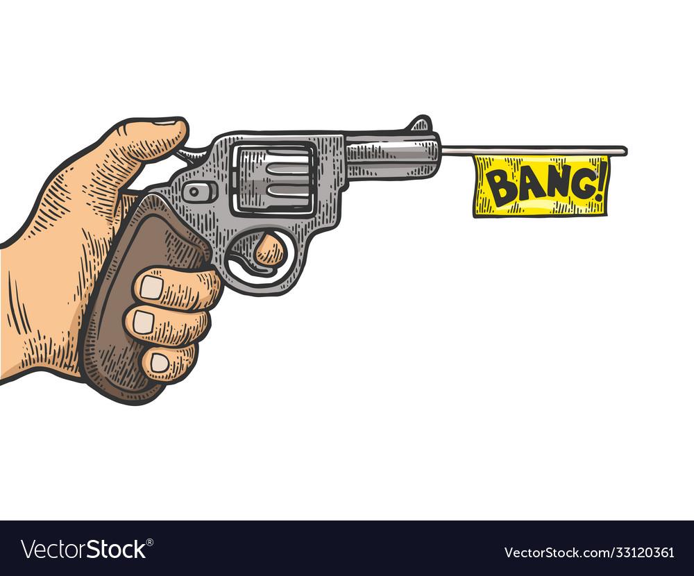 Pistol with white flag engraving