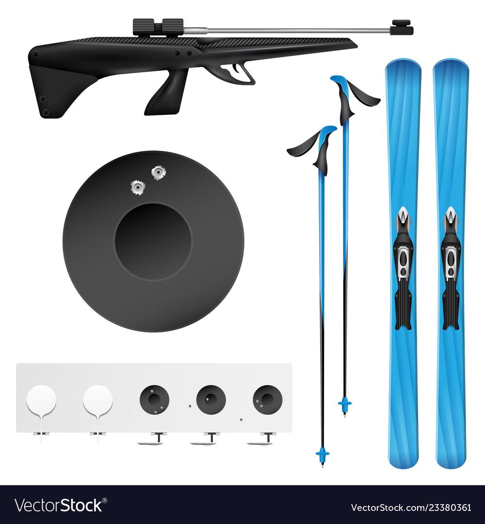 Realistic biathlon icon set