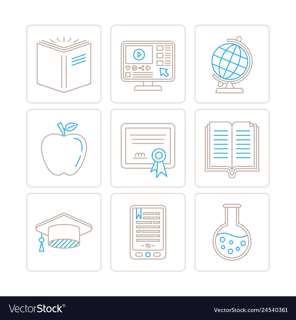 Set of education icons and concepts in mono thin