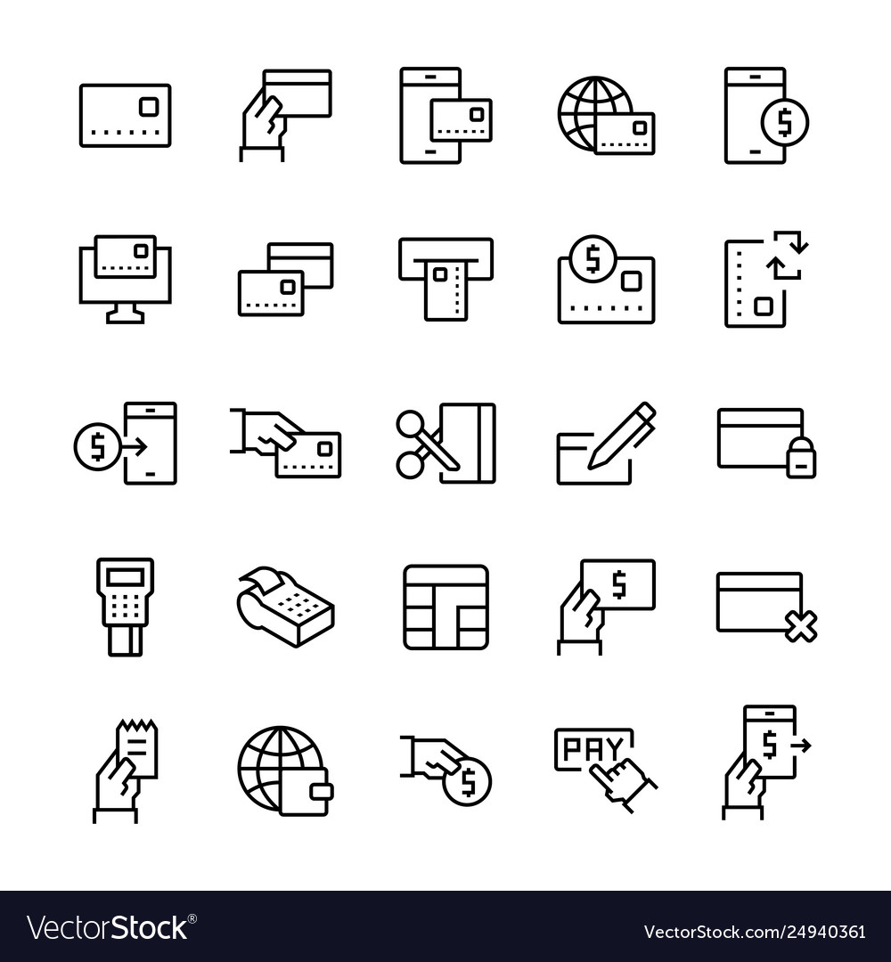Simple icon set pay items in line style symbols