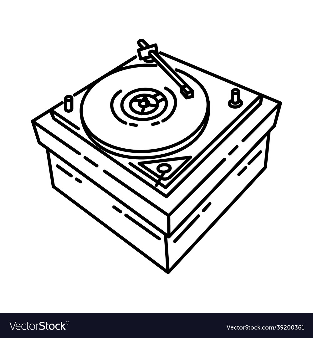 Turntable icon doodle hand drawn or outline icon