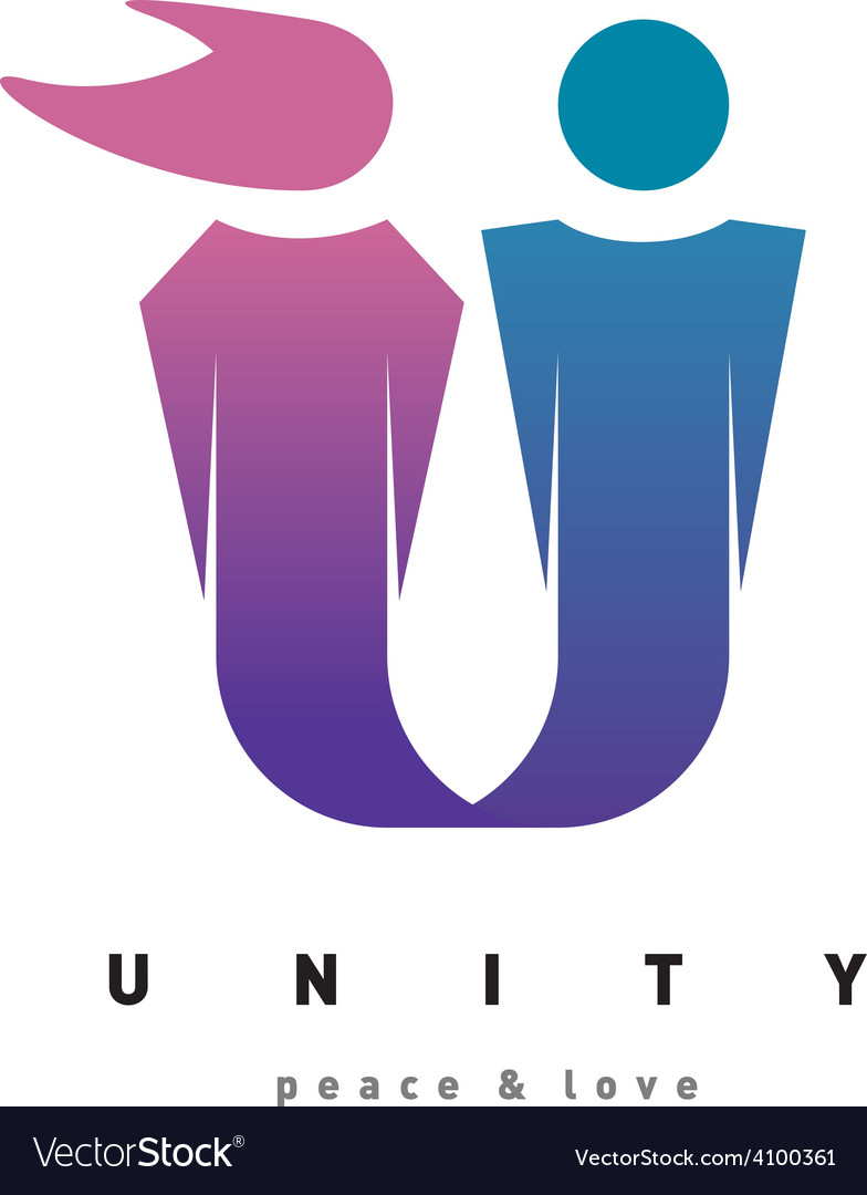 Unity people logo template Man and woman figures Vector Image