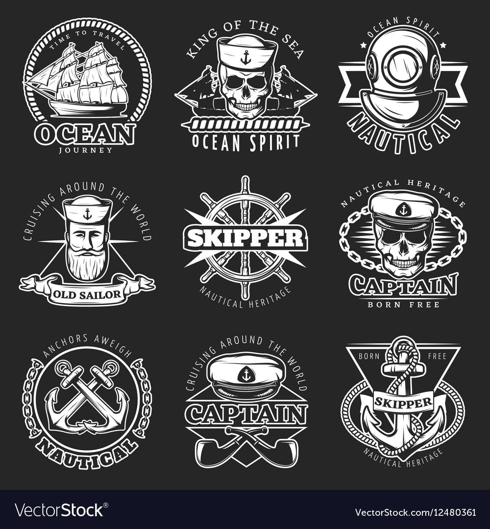 White Vintage Sailor Emblem Set