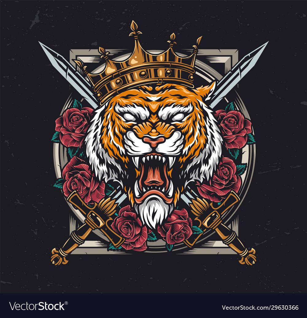 Aggressive tiger head in royal crown