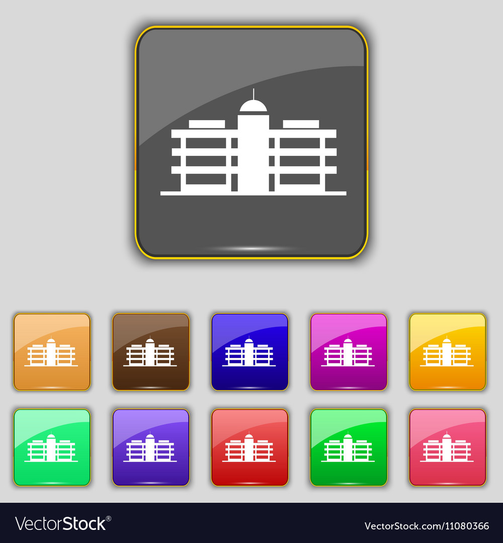 Business center icon sign Set with eleven colored