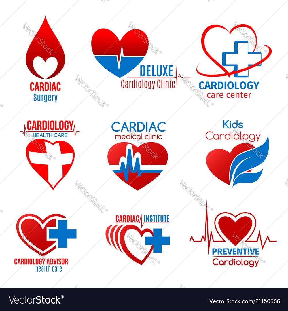 Cardiology medicine and cardiac surgery symbol