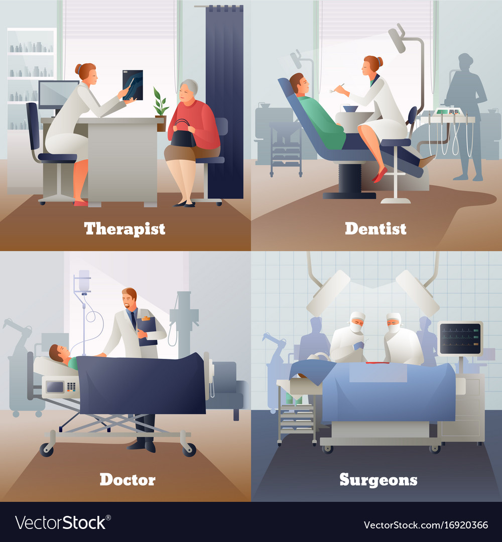 Doctor and patient gradient compositions vector image