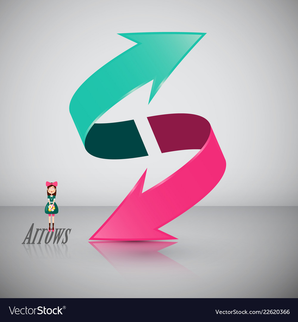 Double 3d arrow symbol with girl icon