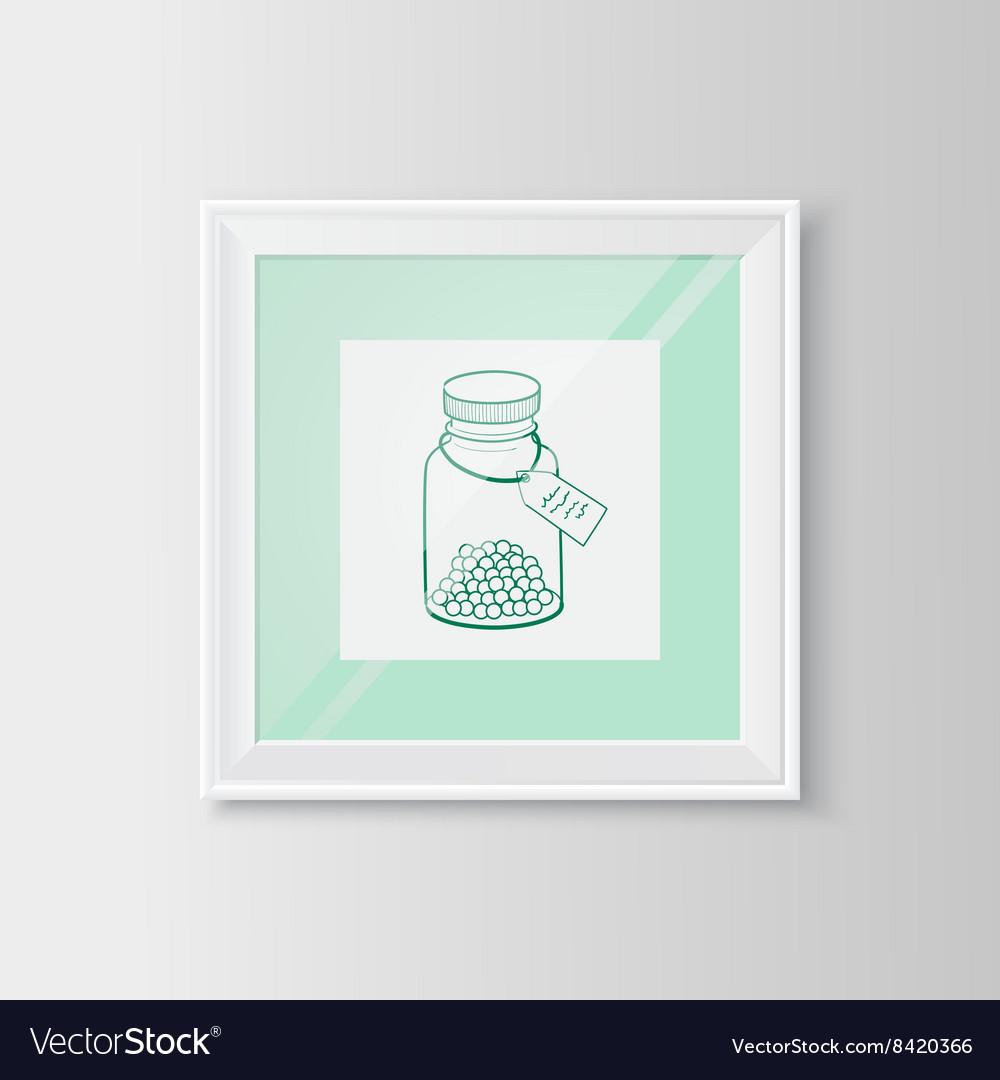 Drugs bottle sketch in a frame Royalty Free Vector Image