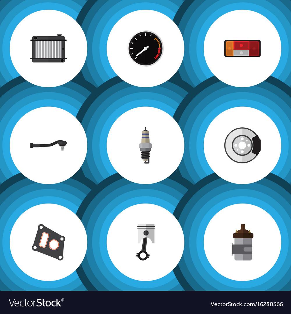 Flat icon parts set of conrod headlight metal