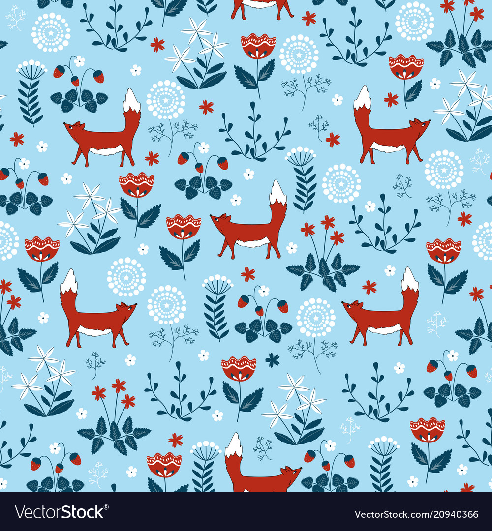 Forest seamless pattern with cute little foxes