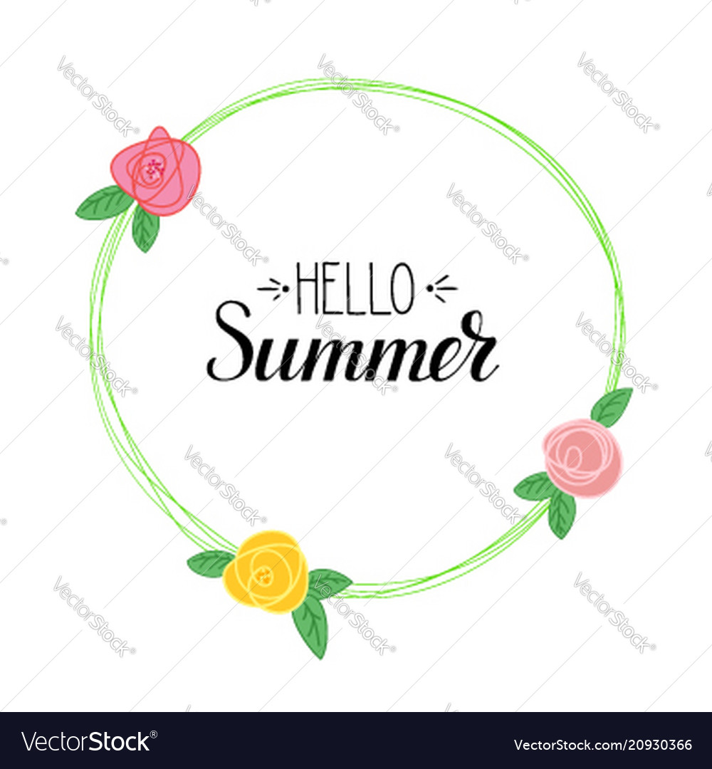 Hello summer handwritten text and picture of