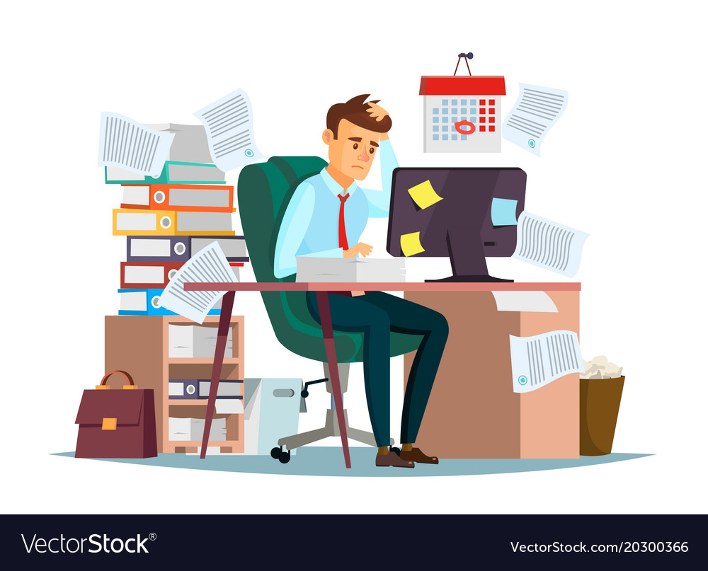 Man Overwork In Office Of Royalty Free Vector Image