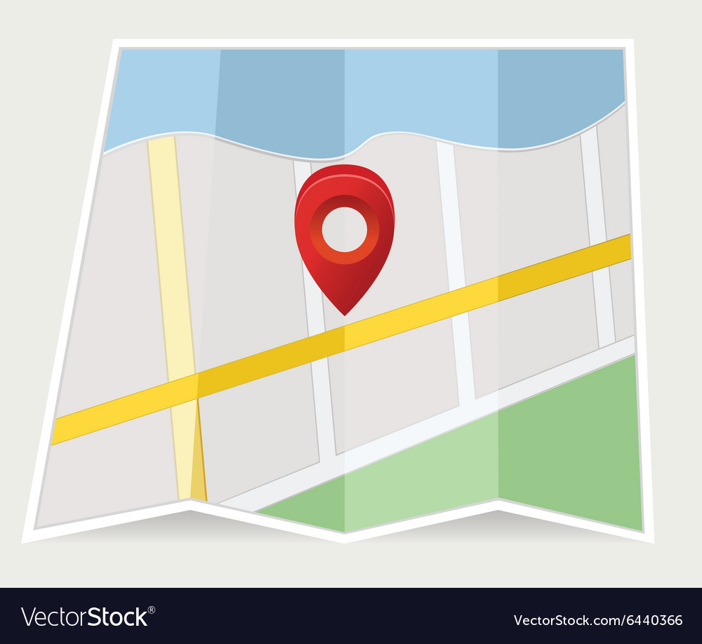Map with pin on grey