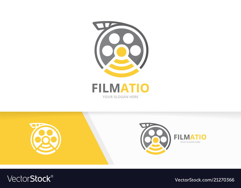 Movie and wifi logo combination cinema and
