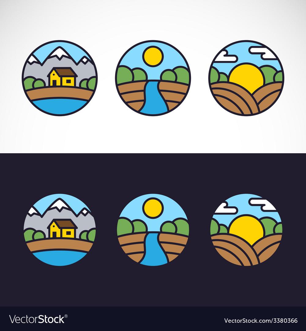 Nature Landscape Logo Template Set