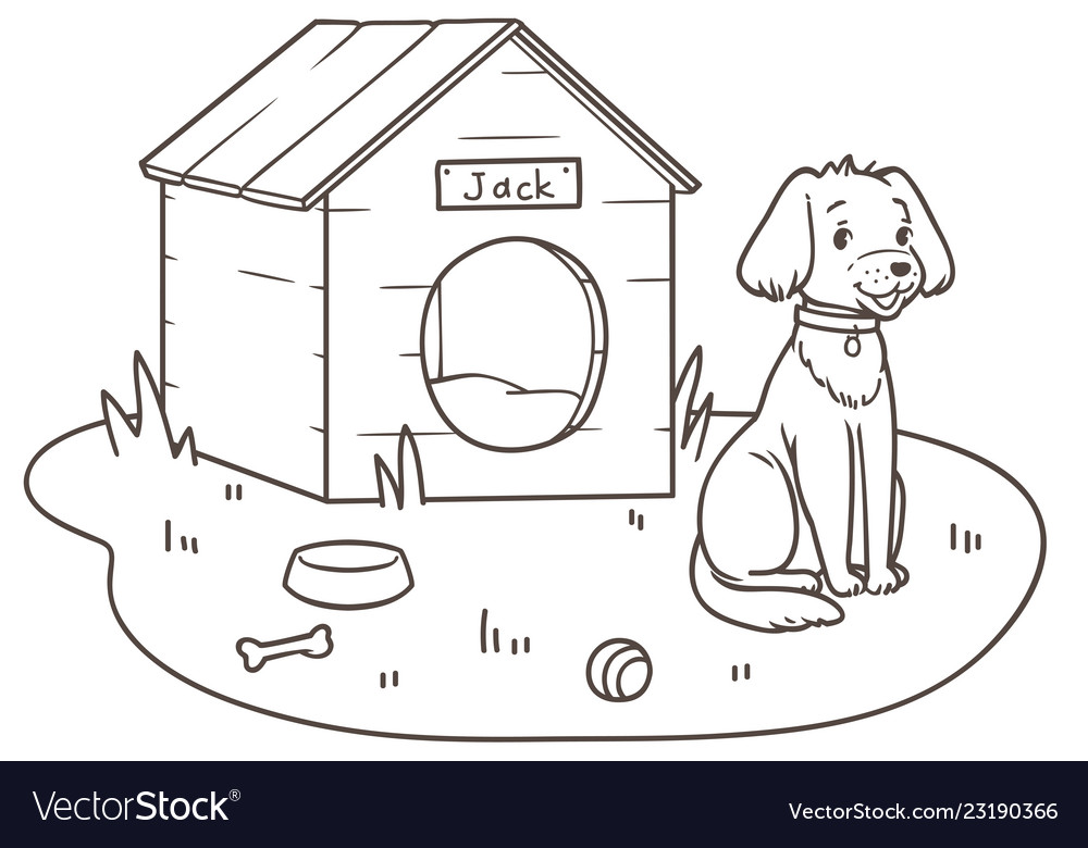 Outline Drawing Of A Friendly Dog Cartoon Near Vector Image