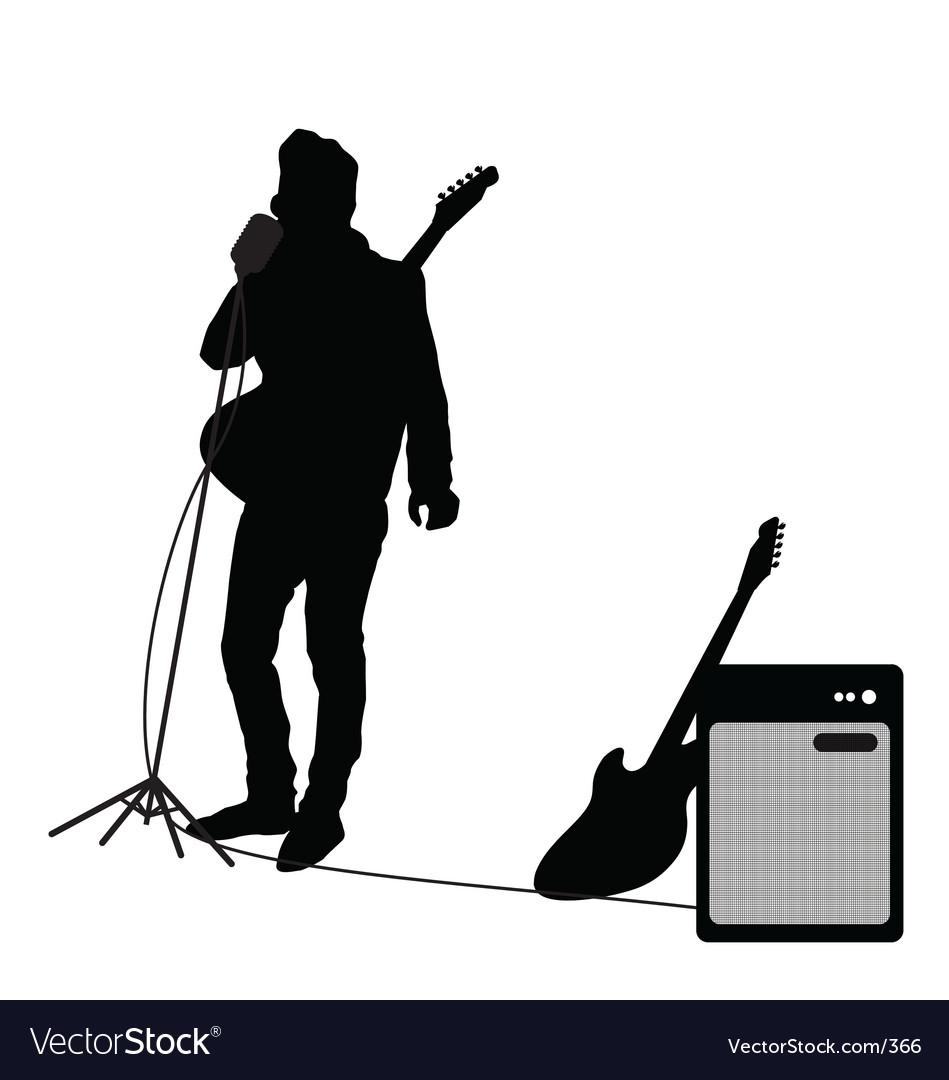 Rocker at mic vector image