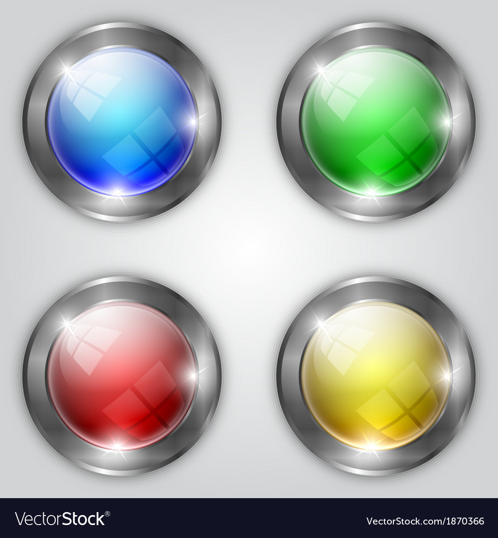 Set of glossy colorful round buttons with metallic