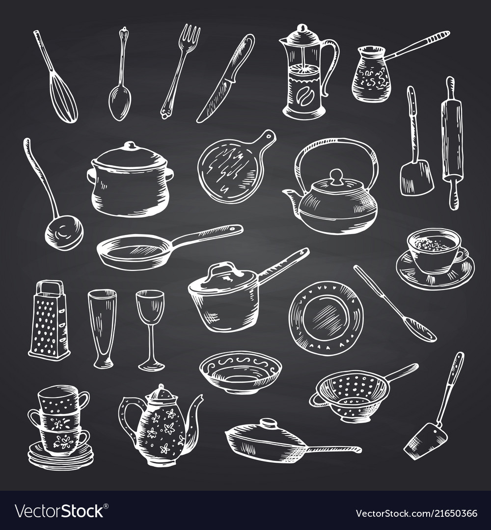 Set of hand drawn kitchen utensils on black