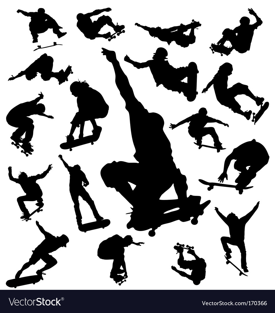Skateboarder silhouettes vector image