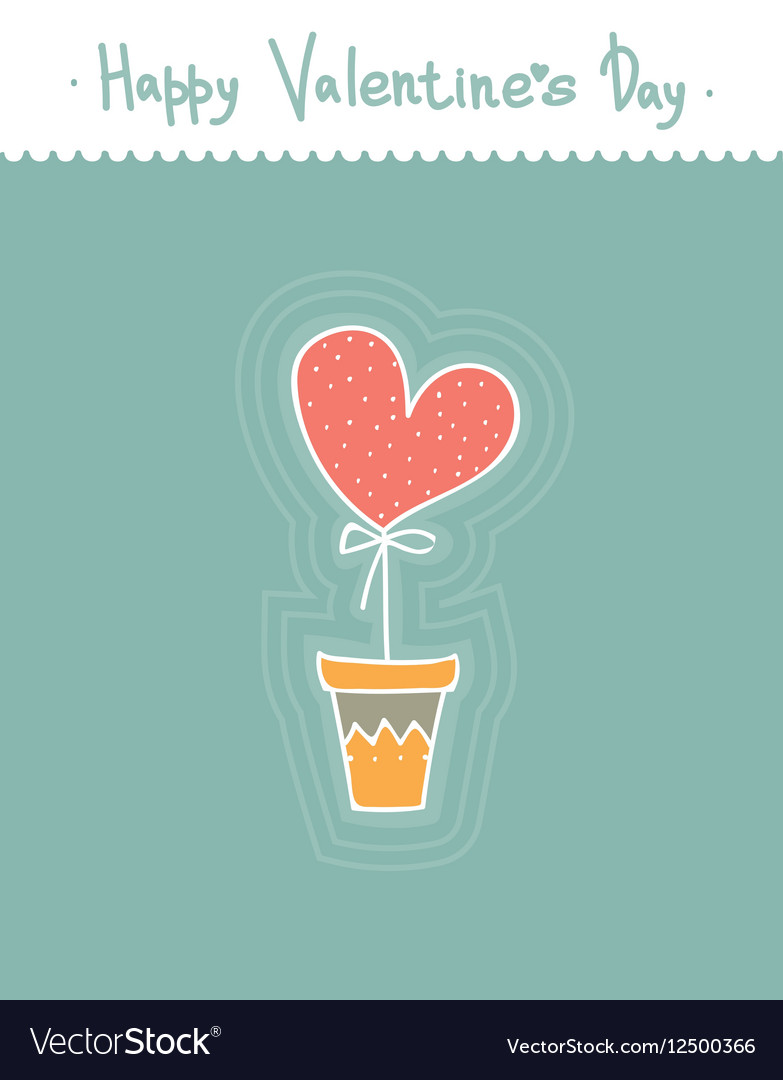 Stylized cute heart in pot Cartoon style