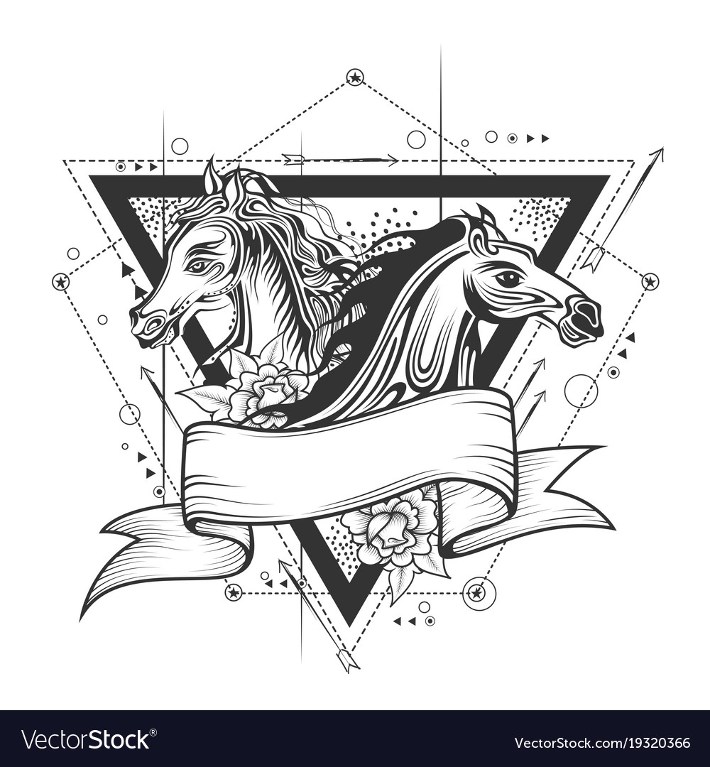 Tattoo art design horse racing in line art vector