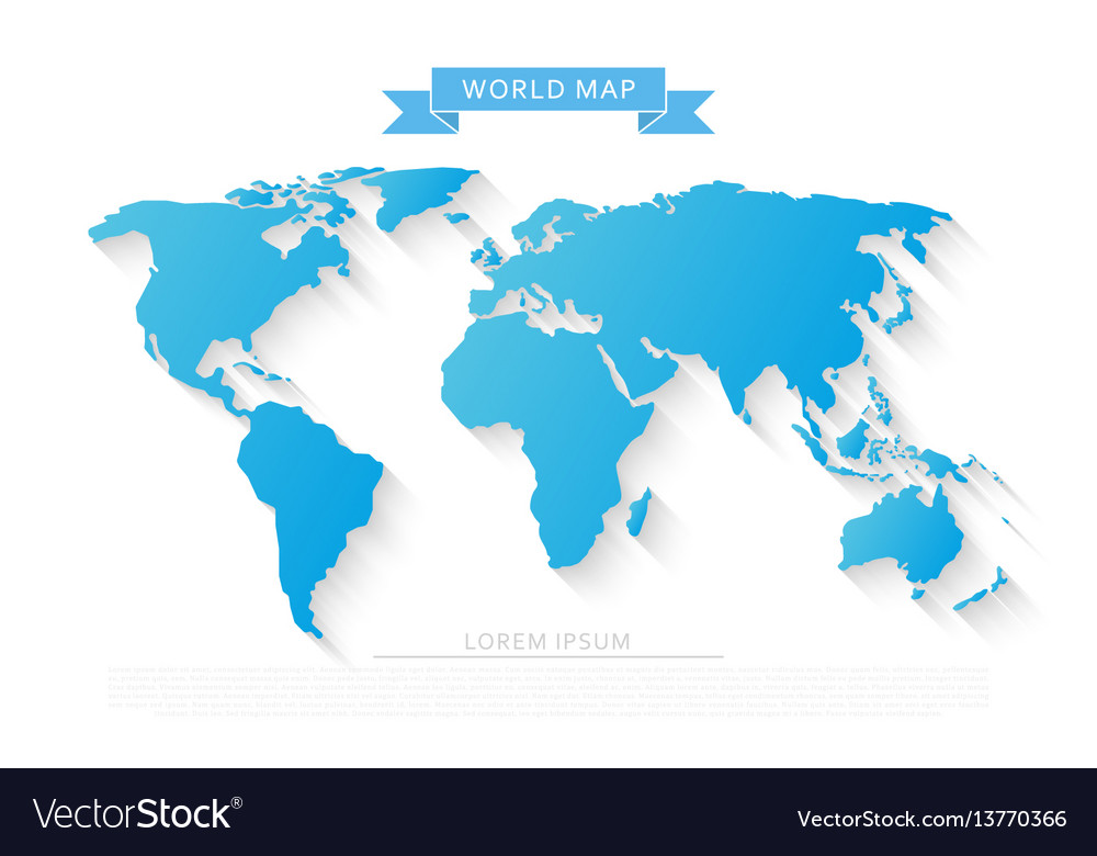 World map with long shadow