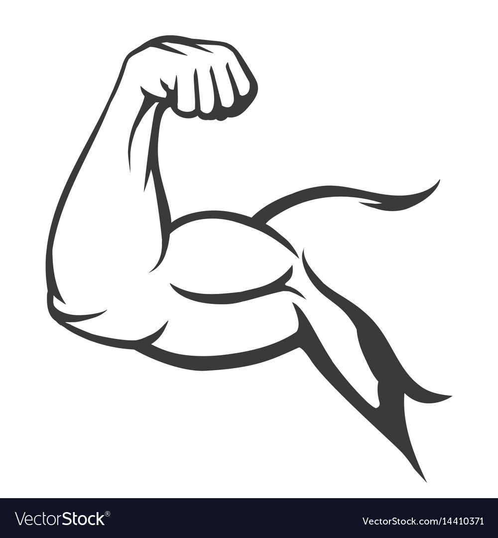 bodybuilder muscle flex arm royalty free vector image rh vectorstock com how to draw cartoon muscle arms Muscle Arm Emoji