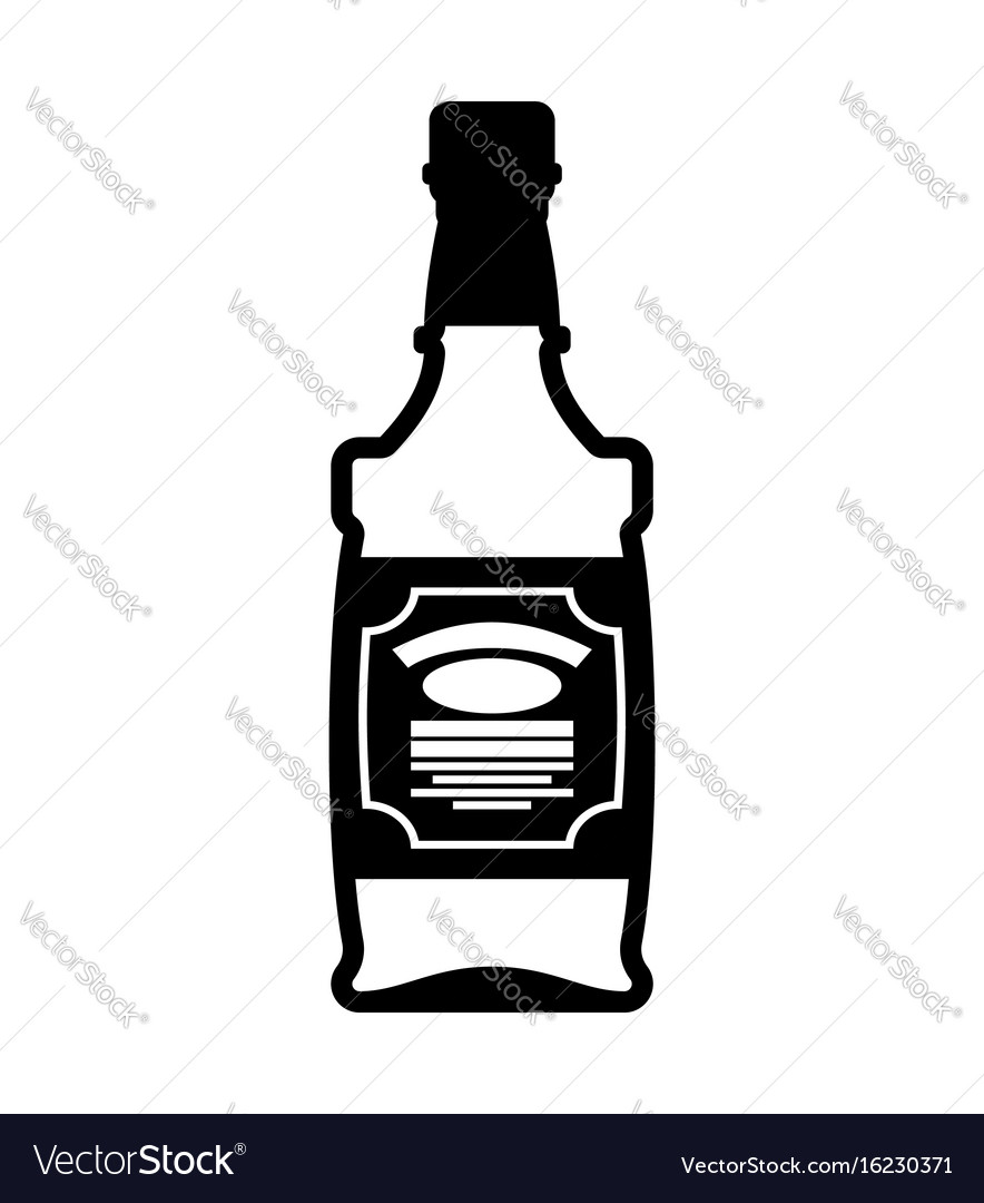 Bottle of whiskey bourbon isolated tequila on