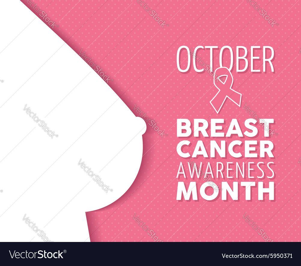 Breast cancer awareness poster woman silhouette vector image