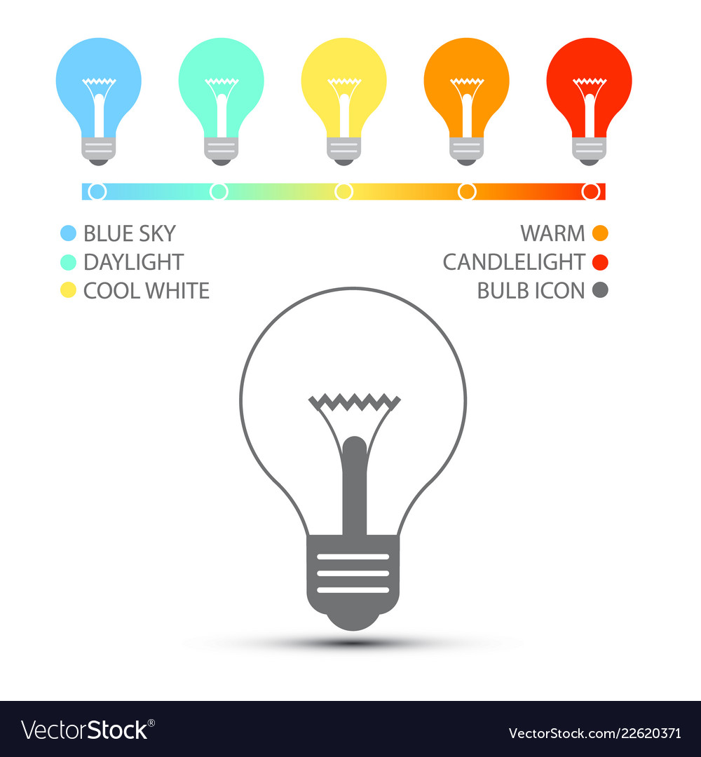 Bulbs with color temperature icons light symbols