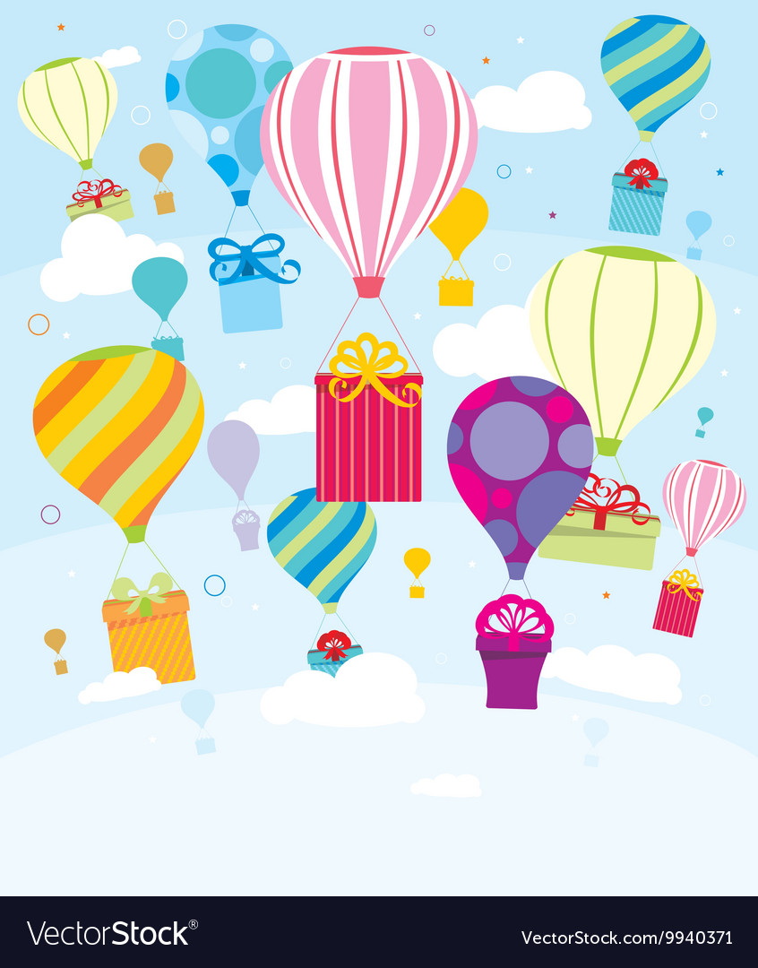 Gifts and balloons vector image