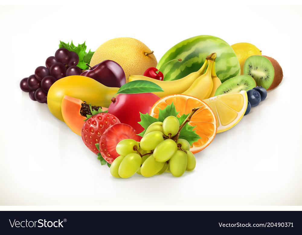 grapes and juicy fruits 3d realism royalty free vector image
