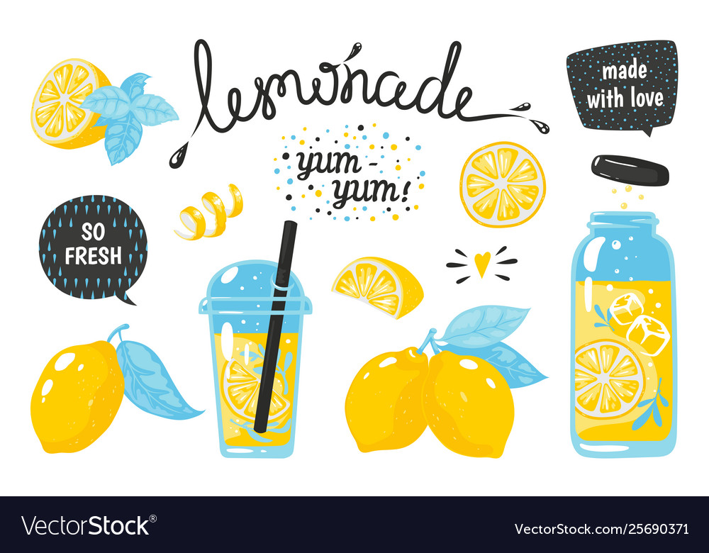 Hand drawn lemonade lemon juice bubble drink with