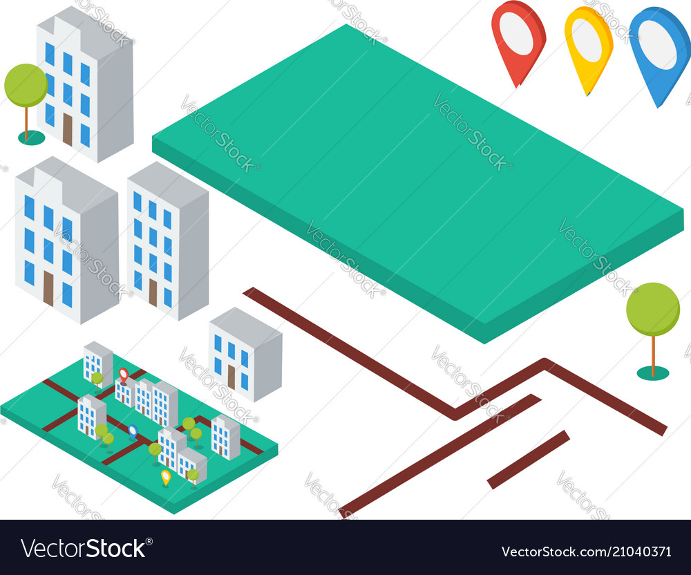 Isometric elements for map buildings trees gps