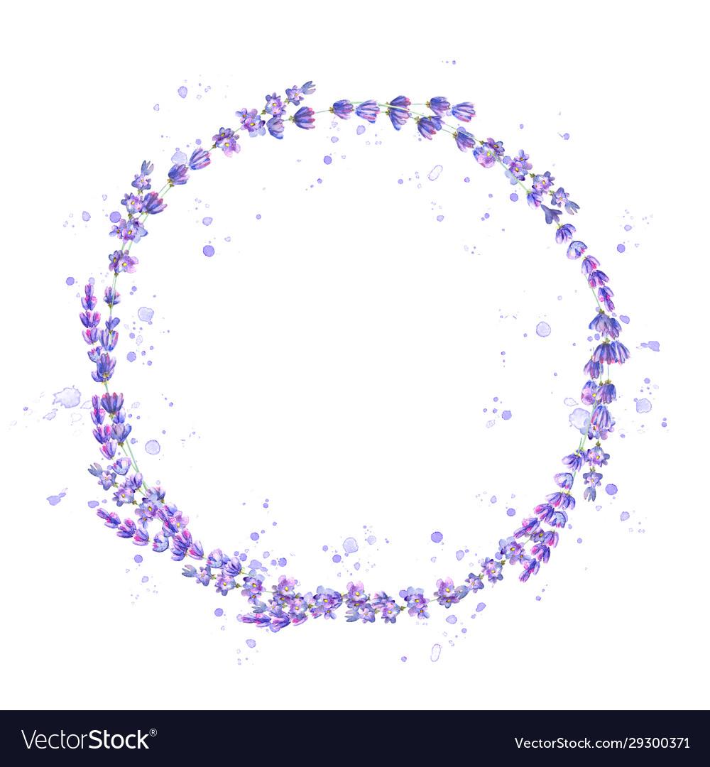 Lavender flowers purple watercolor round frame